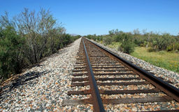 Single line railroad track Royalty Free Stock Images