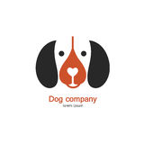 Single logo with a dog made in modern flat style. Logo or label for your company isolated on background. Stock Image