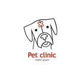 Single logo with a dog made in modern line style vector. Stock Photos