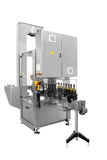 Single machine for labels sealing wine bottles isolated on white background Stock Photo