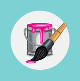 Single magenta paint bucket with paint brush Royalty Free Stock Photography