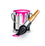 Single magenta paint bucket with paint brush Stock Photo