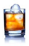 Single malt. Whiskey with ice isolated on white. Soft reflection stock photos