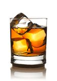 Single malt. Whiskey with ice isolated on white Stock Images
