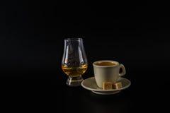 Single malt tasting glasses, single malt whisky in a glass and b Stock Photography