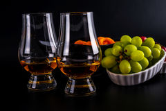 Single malt tasting glasses, single malt whisky in a glass, whit Stock Photo