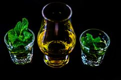 Single malt whiskey in a glass and green mint liqueur, refreshin. G set of drinks, taste sensations Royalty Free Stock Photo