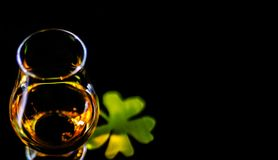 Single malt whiskey in a glass of tasting with decoration for St. Patrick`s day, green clover symbol for Irish holiday, festive Royalty Free Stock Photo