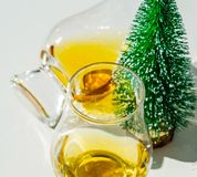 Single malt whisky  in the glass with decorative Christmas tree, Stock Photos