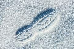 Single man's footprint on the fresh fluffy snow. This is an top view image of single man's footprint on the fresh and fluffy white  snow. The texture  of Royalty Free Stock Photo