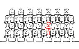Single man in a crowd stock illustration