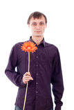 Single man with flower Royalty Free Stock Photos