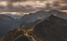 Single man on the ridge. Tatry landscape. Beautiful autumn mountain landscape. Tatry. Poland stock photography