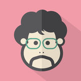 Single Man's Face Flat Design Icon Royalty Free Stock Images