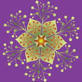 Single Mandala - Abstract Foliage Natural Design Purple Green Colors Stock Photo