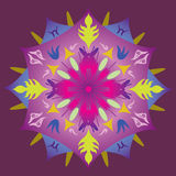 Single Mandala - Abstract Foliage Stars Rainbow Colors Stock Photo