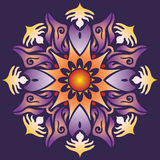 Single Mandala - Abstract Geometry Shapes Violet Orange Colors Stock Photo