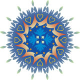 Single Mandala - Foliage Hearts Green and Blue Colors Royalty Free Stock Photo