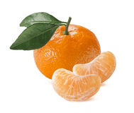 Single mandarin with leaves and slices  on white. Single orange mandarin tangerine with leaves and slices  on white background as package design element Stock Photo