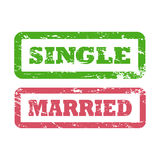 Single and Married inscriptions in rectangle frame. Rubber stamp with distressed texture. Stock Photography