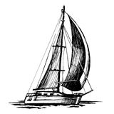 Single-masted sailboat vector sketch isolated vector illustration