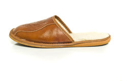 Single mens slipper over the white Royalty Free Stock Photography
