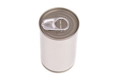 Single metal can isolated on white background Royalty Free Stock Photography