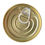 Single metal can. Top view. Stock Photos