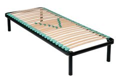 Single metal frame orthopaedic net bed. With wooden slats and rubber shock absorbers isolated on white for maximum comfort and support royalty free stock photo
