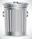 Single metallic trash can Royalty Free Stock Image