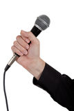 Single microphone on white background Stock Image