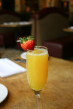 Single Mimosa Cocktail. Glass, above, vertical Royalty Free Stock Image