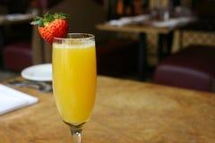 Single Mimosa Cocktail. Glass, horizontal Stock Image