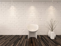 Single modern white chair against a brick wall Stock Images