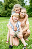 Single mom and her children Royalty Free Stock Photography