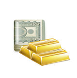 Single money stack folded with golden bars isolated Royalty Free Stock Photo