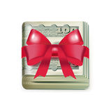 Single money stack folded with red bow isolated Royalty Free Stock Photos