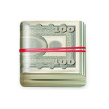 Single money stack folded with rubber band isolated Stock Photo