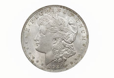 Single Morgan Dollar. A single and isolated Morgan Silver Dollar Royalty Free Stock Images