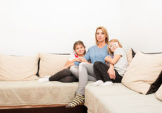 Single mother and two daughters Royalty Free Stock Photos