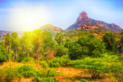 Single mountain in India at sunset. Royalty Free Stock Images