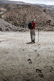 Mountaineer trekker walking in Himalayas Stock Photos
