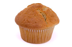 Single muffin on white background. Close-up Stock Photo