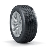 Single new unused car tire with rim isolated Stock Photo