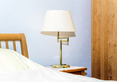 Single night lamp in bedroom Royalty Free Stock Images