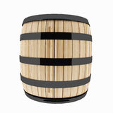 Single oak barrel on isolated white in 3D illustration Royalty Free Stock Image