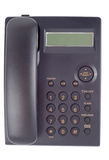 Single Office Phone. Black telephone isolated with clipping path over white background Stock Photo