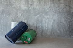 Single Oil Barrel on Bare cement wall. Detail royalty free stock images