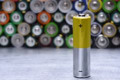 Single Old Alkaline Battery stock images