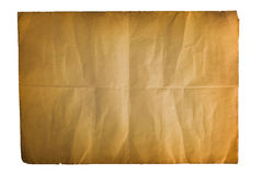 Single old folded flat sheet of paper. Single old flat sheet of paper folded twice isolated on white background Royalty Free Stock Photos